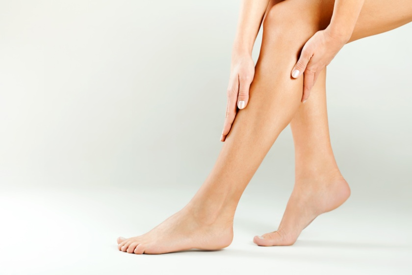 Beautiful female legs, smooth skin after waxing